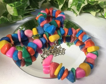 Lovely Vibrant Multi Coloured Stone Necklace - Pink, Blue, Yellow, Orange and Red