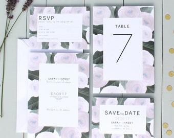 Floral Wedding Invitation, Pink Wedding Invite, Ranunculus Wedding Invitation Suite