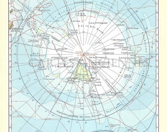 Old map of Antarctica (1962) - original vintage in Antarctica dating from 1962 map (21cm x 29, 7cm)-sold box