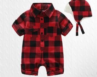 plaid baby romper, lumberjack baby, canadian baby, cute onesie, christmas onesie, baby hunter onesie, plaid baby clothes, forest baby onsie