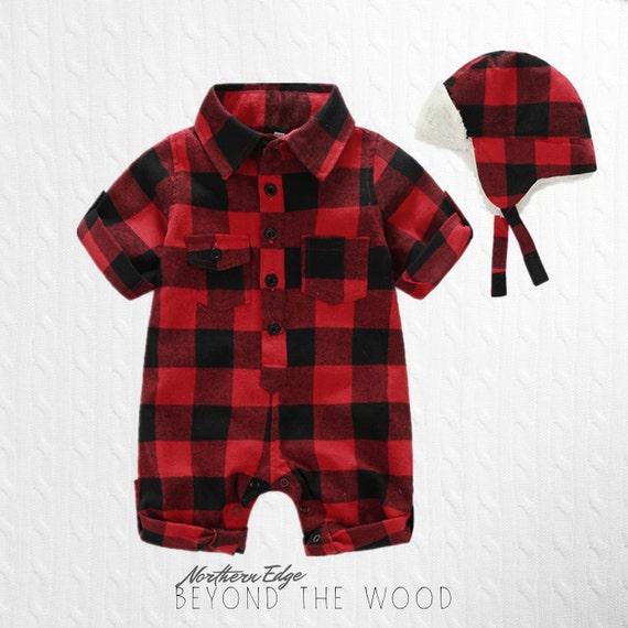 Plaid Baby Romper Lumberjack Baby Canadian Baby Cute