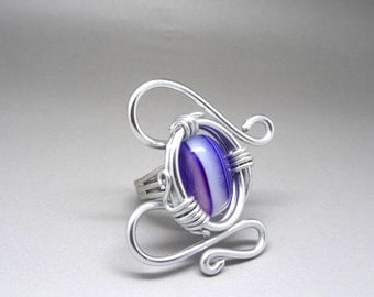 ethnic ring Aladin striped agate purple