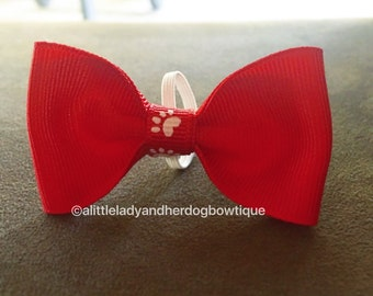 Red Pawprint Bow Tie - Pet Bows - Pet Accessories - Dogs - Cats