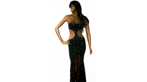 Strapless Hourglass stripper Gown  with rhinestones and matching thong...