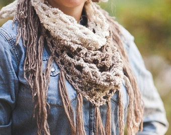 Cream and Taupe Crochet Fringe Triangle Scarf