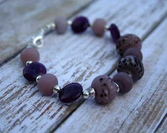 Purple Lampwork Beaded Bracelet, Silver Beaded Bracelet, Purple Beaded Bracelet, Purple Aventurine Bracelet, Lampwork Bracelet, Purple Beads