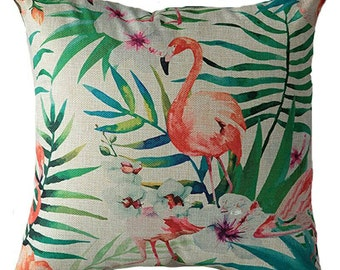 Cute linen pillow cover with flamingo and tropical print