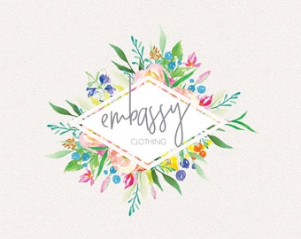 Floral Logo | Embassy | Logo Design, Graphic Design, Custom Logo, Photography Logo, Logo for Small Business, Boutique Logo