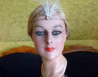 Original (!) Headdress with egret feathers, Head Dress, Head Piece, antique, 1920s