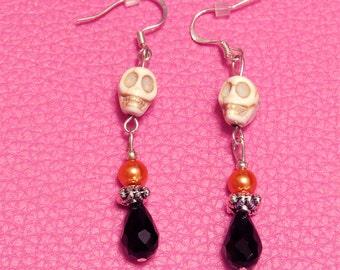 Earrings skulls orange and silver beads with black teardrops