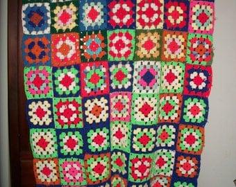 "Vintage Handmade Multi-Color Granny Square Afghan/Throw 40"" x 62"""