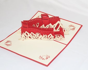Great Wall Of China R, Pop Up Card, Birthday Card, Greeting Card, Birthday Pop Up Card, Christmas Card, Get Well Card, Anniversary Card, 194