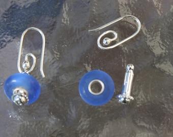 Light Blue frosted beach glass soild sterling silver core beaded interchangable earrings