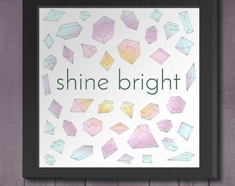"Printable Art 10x10 Download: ""Shine Bright"" Nursery or Children's Print"