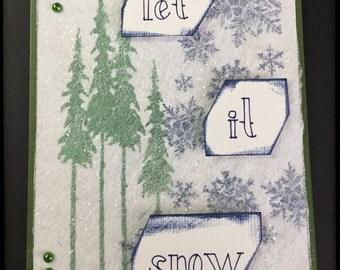Christmas Card, Sprakly Card, Handmade Holiday Card, Let It Snow Card, Winter Greeting Card, Fancy Handmade Card, Glitter Pine Tree Card
