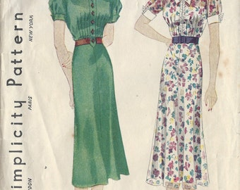 "1930s Vintage Sewing Pattern DRESS B32"" (R586) Simplicity 2654"