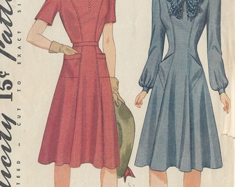 "1941 Vintage Sewing Pattern B28"" DRESS (143) Simplicity 3908"