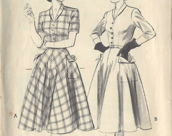 1950s Vintage Sewing Pattern B36 DRESS (R771)  Butterick 6254