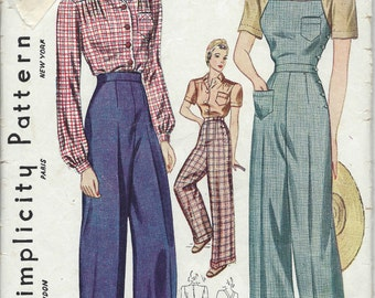 1940 Vintage Sewing Pattern B46-W40 BLOUSE-TROUSERS-OVERALLS (1231) Simplicity 3322