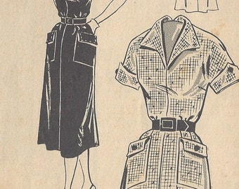 "1950s Vintage Sewing Pattern B40"" DRESS (R184) The Pattern Bureau 2998"