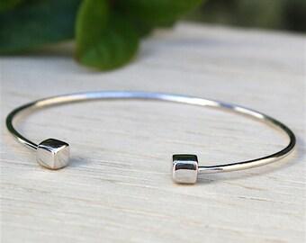 massive silver ring 925 square finish bracelet