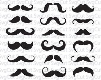 Mustache svg file, mustache clipart, Mustaches silhouette file, cricut design, mustache vector clip art svg, dxf, eps, png