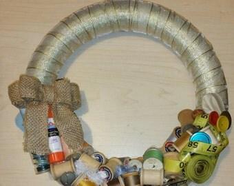 Handmade Ribbon Wrapped Sewing Notion Thread Spool Wreath