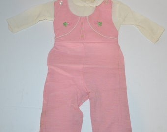 Vintage 1970's ADORABLE Soft Infant 2-Piece L/S Overall Set POLYNOSIC Pink Sz 9 Embroidered Floral
