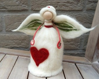 """Christmas Angel Tree Topper - Needle Felt Angel - Waldorf angel - 8"""" Angel Tree Topper in X-mas Colors, Natural, Red, Green - Made to Order"""