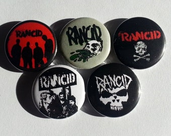 "5 x Rancid 1"" Pin Button Badges ( band music punk rock )"