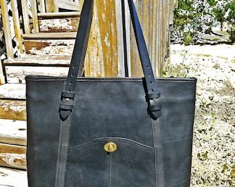All Leather Dakota Saloon Tote - Black