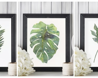 Trio set of tropical palm leaves - 3 ART PRINTS of my watercolor paintings