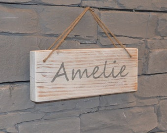 Shield with vanity name wood sign, vintage, Shabby Chic,