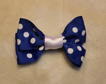 Blue Poke-A-Dot Hair Bow