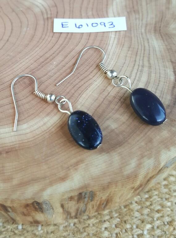 Black Sandstone Glistening Earrings / Black Sparkle Earrings / Dangle Earrings / Hippie Earrings / Boho Jewelry /E61093