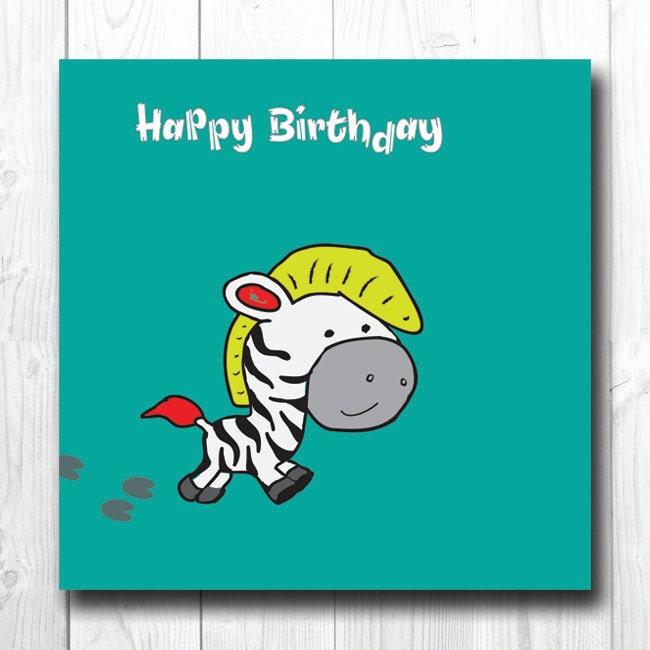 Cartoon Zebra Birthday Card Cute Birthday Animal Card Funny