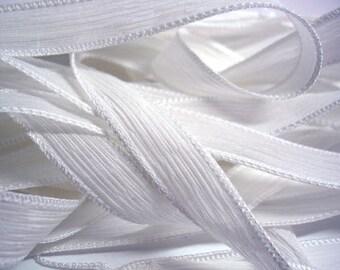 """1PC. WHITE 42"""" hand dyed wrist wrap bracelet silk ribbon//Yoga wrist wrap bracelet ribbons//Hand dyed Boho Silk wrist wrap ribbon"""