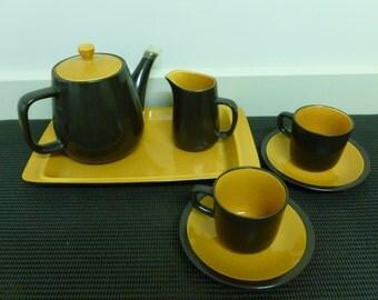 "Vintage Retro Mikasa Terra Stone ""Paprika""Tea For Two Set/Tray/Tea pot/Creamer/2 x Cups/mugs 2 x Saucers (E1258)Retro Kitchen-Made in Japan"