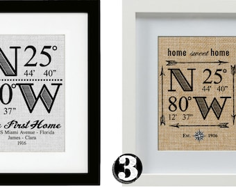 Personalized GPS Latitude Longitude Home Coordinates Burlap Sign with Frame(8x10 frame matted to 5x7).