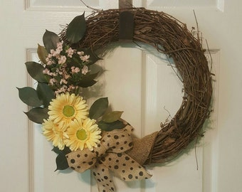 Burlap Polka Dot Grapevine Purple Yellow Door Wreath Wall Hanging 12