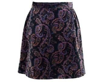 90s Black Velvet Paisley Mini Skirt UK 6/8