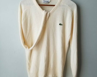 Vintage 80s / Lacoste / sweater / cream / preppy / classic / alligator