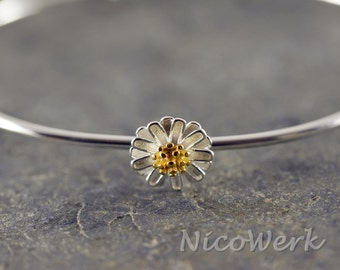 Silver Bangle Bracelet flower Cuff Bracelet 925 ladies jewelry gift 356