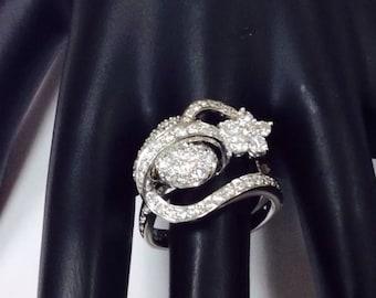 Diamonds,18k white gold heart snd star,engagement  promise ring.1.15ctw,size 6