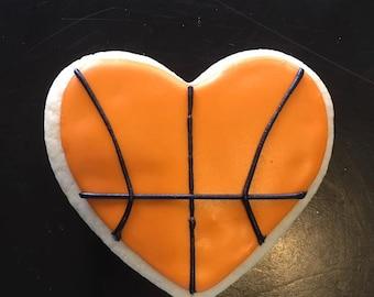 Basket Ball Heart Sugar Cookies