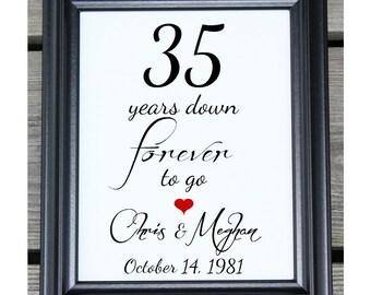 35 years of marriage 35 years down 35 year anniversary 35th wedding anniversary