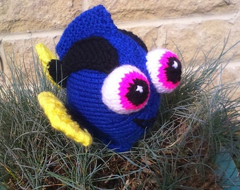 Baby Dory the blue tang fish knitting pattern for a soft toy