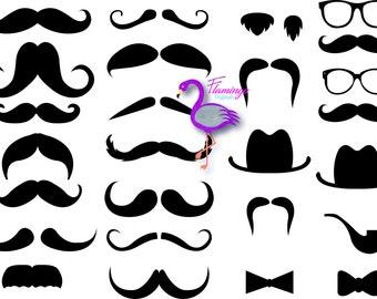 Moustache Clip Art, Set of 24, Digital Moustache, Scrapbooking Supplies, Clip art
