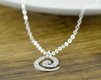 Silver Spiral Necklace - Swirl Pendant - Small Sterling Silver Spiral Pendant - Minimalist Jewelry - Ready to Ship - Gift for Her