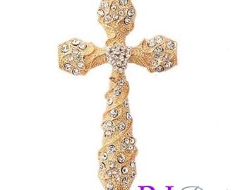 1- Gold Plated Rhinestone Crystal Wedding Bridal Rosary Cross Pendant Charm